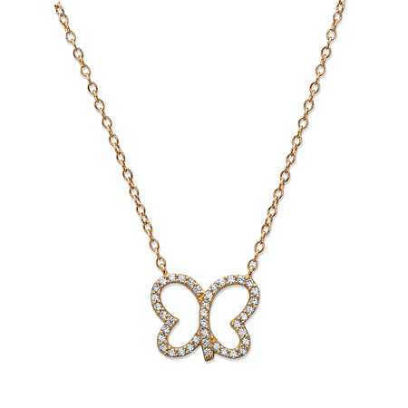 Cubic Zirconia Openwork Butterfly Pendant Necklace in 14k Yellow Gold over Sterling Silver 18