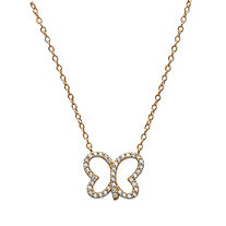 "Cubic Zirconia Openwork Butterfly Pendant Necklace in 14k Yellow Gold over Sterling Silver 18"" (.20 TCW)"
