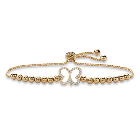 "Cubic Zirconia Butterfly Beaded Slider Bracelet 14k Yellow Gold-Plated 9.25"" (.20 TCW) at PalmBeach Jewelry"