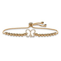 Cubic Zirconia Butterfly Beaded Slider Bracelet 14k Yellow Gold-Plated 9.25