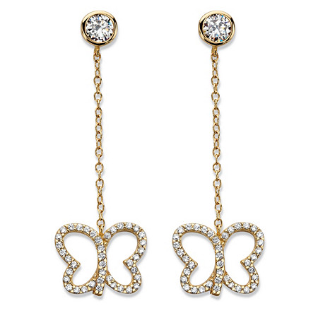 Round Cubic Zirconia Butterfly Drop Earrings 14k Yellow Gold-Plated 9.25