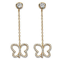 "Round Cubic Zirconia Butterfly Drop Earrings 14k Yellow Gold-Plated 9.25"" (.90 TCW)"