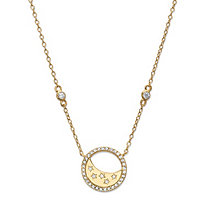 Cubic Zirconia Moon and Stars Pendant Necklace in 14k Yellow Gold over .925 Sterling Silver 18""