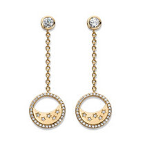 Cubic Zirconia Moon and Stars Drop Earrings in 14k Yellow Gold over .925 Sterling Silver 1.5""
