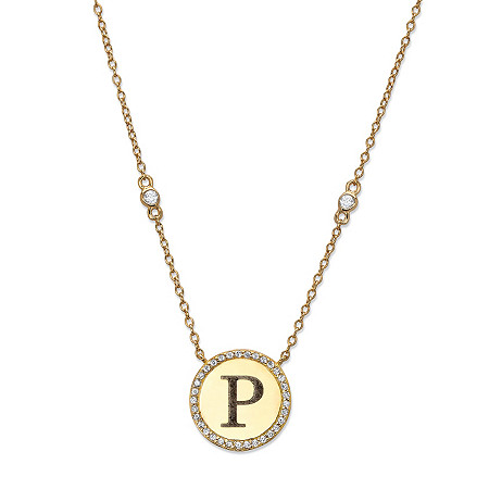 Personalized Cubic Zirconia Medallion Halo Pendant Necklace in 14k Gold over Silver 18