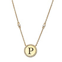 "Personalized Cubic Zirconia Medallion Halo Pendant Necklace in 14k Gold over Silver 18"" (.23 TCW)"