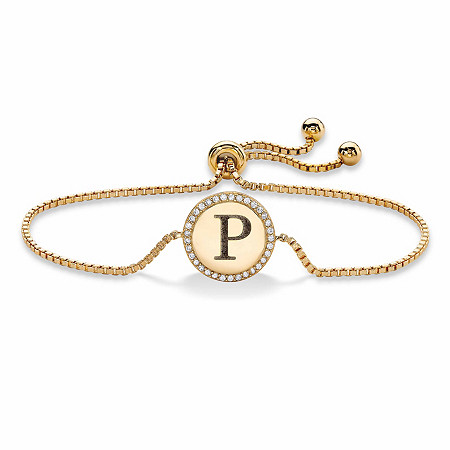 Personalized Cubic Zirconia Medallion Halo Slider Bracelet in 14k Yellow Gold over Sterling Silver 9.25