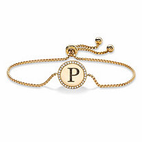 "Personalized Cubic Zirconia Medallion Halo Slider Bracelet in 14k Yellow Gold over Sterling Silver 9.25"" (.17 TCW)"