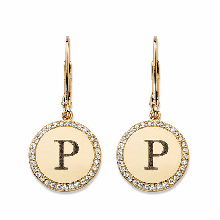 Round Cubic Zirconia Medallion Halo Drop Earrings .33 TCW in 14k Yellow Gold over Sterling Silver at PalmBeach Jewelry