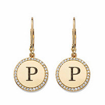 Round Cubic Zirconia Medallion Halo Drop Earrings in 14k Yellow Gold over Sterling Silver (.33 TCW)