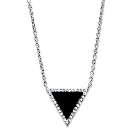Genuine Black Onyx and Cubic Zirconia Triangle Halo Necklace in Sterling Silver 18