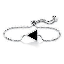 Genuine Black Onyx and Cubic Zirconia Triangle Halo Slider Bracelet in Sterling Silver 9.25