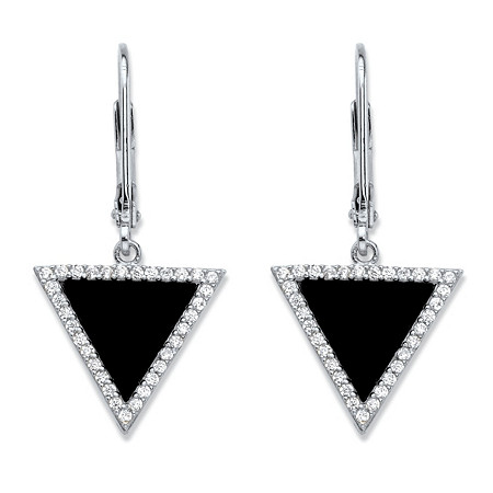 Genuine Black Onyx and Cubic Zirconia Triangle Halo Drop Earrings in Sterling Silver (.33 TCW) at PalmBeach Jewelry