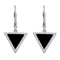 Genuine Black Onyx and Cubic Zirconia Triangle Halo Drop Earrings in Sterling Silver (.33 TCW)