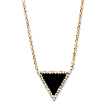 Genuine Black Onyx and Cubic Zirconia Triangle Halo Necklace in 14k Gold over Sterling Silver 18