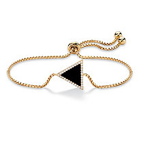 "Genuine Black Onyx and Cubic Zirconia Triangle Halo Slider Bracelet in 14k Gold-Plated Sterling Silver 9.25"" (.17 TCW)"