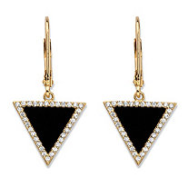 Genuine Black Onyx and Cubic Zirconia Triangle Halo Drop Earrings in 14k Gold-Plated Sterling Silver 9.25