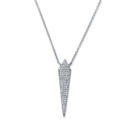 "Cubic Zirconia Sword Dagger Pendant Necklace in Sterling Silver 18""-20"" (.41 TCW) at PalmBeach Jewelry"