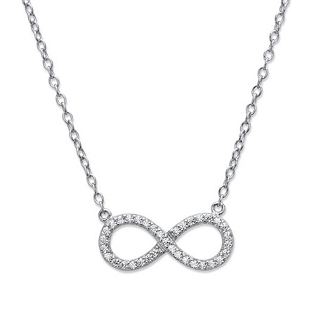 Round Cubic Zirconia Infinity Necklace in .925 Sterling Silver 18