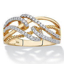 White Cubic Zirconia Highway Crossover Ring in 14k Yellow Gold over Sterling Silver (.28 TCW)