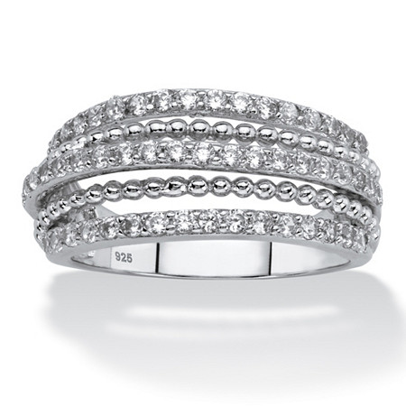White Cubic Zirconia Multi-Band Ring in Sterling Silver (.78 TCW) at PalmBeach Jewelry