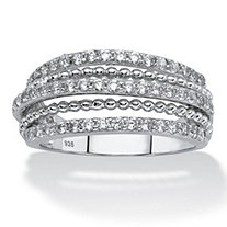 White Cubic Zirconia Multi-Band Ring in Sterling Silver (.78 TCW)