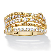 White Cubic Zirconia Multi-Band Highway Ring in 14k Yellow Gold-Plated Sterling Silver (.75 TCW)