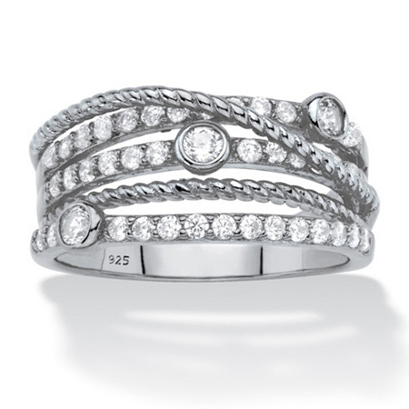 White Cubic Zirconia Multi-Band Crossover Highway Ring in Sterling Silver (.75 TCW) at PalmBeach Jewelry
