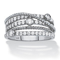 White Cubic Zirconia Multi-Band Crossover Highway Ring in Sterling Silver (.75 TCW)