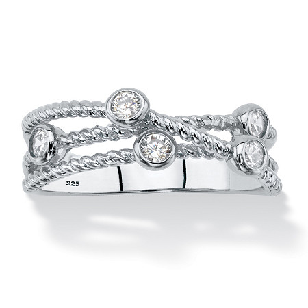 White Cubic Zirconia Multi-Band Crossover Ring in Sterling Silver (.25 TCW) at PalmBeach Jewelry