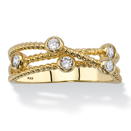 White Cubic Zirconia Multi-Band Crossover Ring in 14k Gold-Plated Sterling Silver (.25 TCW) at PalmBeach Jewelry