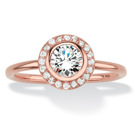 Round Bezel-Set Cubic Zirconia Stackable Halo Ring in Rose Gold over Sterling Silver (1.43 TCW) at PalmBeach Jewelry