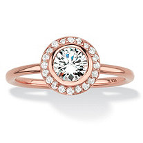 Round Bezel-Set Cubic Zirconia Stackable Halo Ring in Rose Gold over Sterling Silver (1.43 TCW)