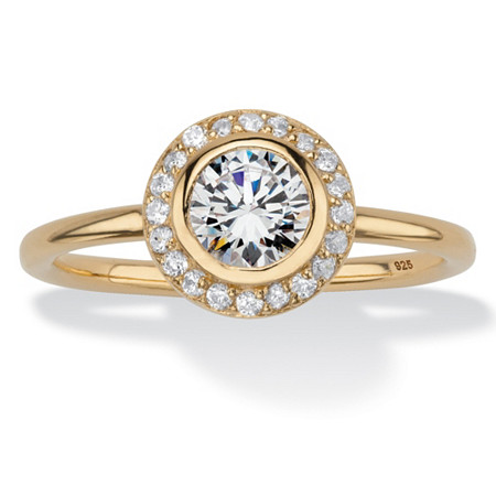 Round Cubic Zirconia Stackable Halo Ring in 18k Yellow Gold over Sterling Silver (1.43 cttw) at PalmBeach Jewelry