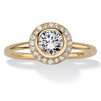 Round Cubic Zirconia Stackable Halo Ring in 18k Yellow Gold over Sterling Silver (1.43 cttw)