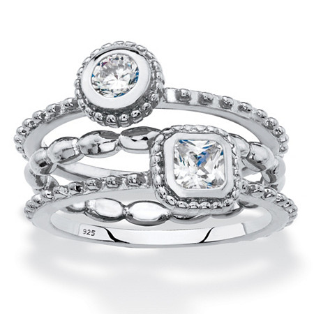 Round and Square Cubic Zirconia 3-Piece Stackable Ring Set .62 TCW in Sterling Silver at PalmBeach Jewelry