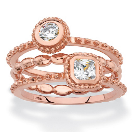 Round and Square Cubic Zirconia 3-Piece Stackable Ring Set .62 TCW in Rose Gold over Sterling Silver at PalmBeach Jewelry