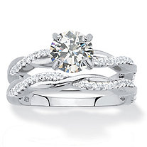 Round Cubic Zirconia 2-Piece Twisted Wedding Ring Set in Sterling Silver 1.79 TCW