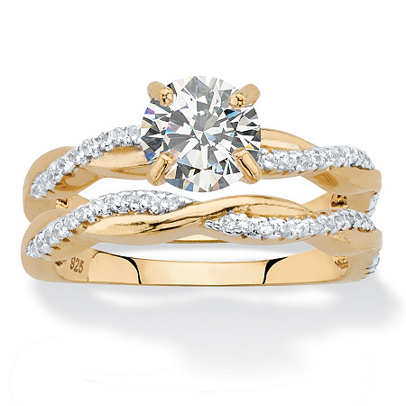 Round Cubic Zirconia 2-Piece Twisted Wedding Ring Set in 18k Gold over Sterling Silver 1.79 TCW at PalmBeach Jewelry