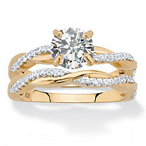 Round Cubic Zirconia 2-Piece Twisted Wedding Ring Set in 18k Gold over Sterling Silver 1.79 TCW