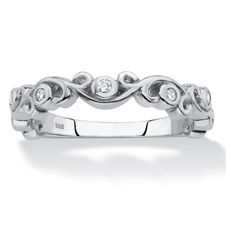 Cubic Zirconia Scrolled Stackable Ring in Sterling Silver (.11 TCW) at PalmBeach Jewelry