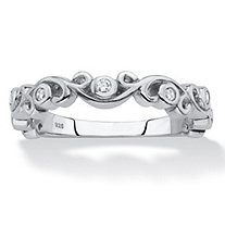 Cubic Zirconia Scrolled Stackable Ring in Sterling Silver (.11 TCW)