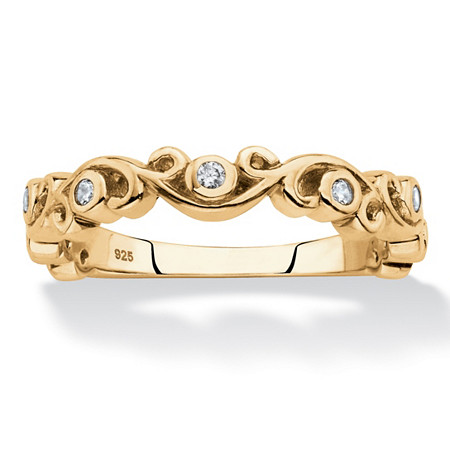 Cubic Zirconia Scrolled Stackable Ring in 18k Gold over Sterling Silver (.11 TCW) at PalmBeach Jewelry