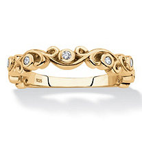 Cubic Zirconia Scrolled Stackable Ring in 18k Gold over Sterling Silver (.11 TCW)