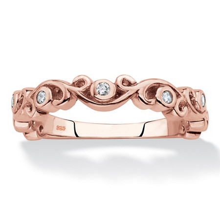 Cubic Zirconia Scrolled Stackable Ring in Rose Gold over Sterling Silver (.11 TCW) at PalmBeach Jewelry