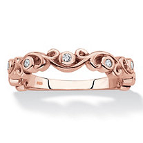 Cubic Zirconia Scrolled Stackable Ring in Rose Gold over Sterling Silver (.11 TCW)