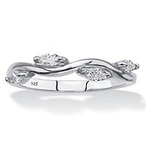 SETA JEWELRY Marquise-Cut Cubic Zirconia Twisted Vine Ring in Sterling Silver (.40 TCW)