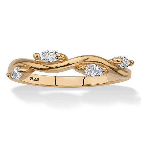 Marquise-Cut Cubic Zirconia Twisted Vine Ring in 18k Yellow Gold over Sterling Silver (.40 TCW) at PalmBeach Jewelry