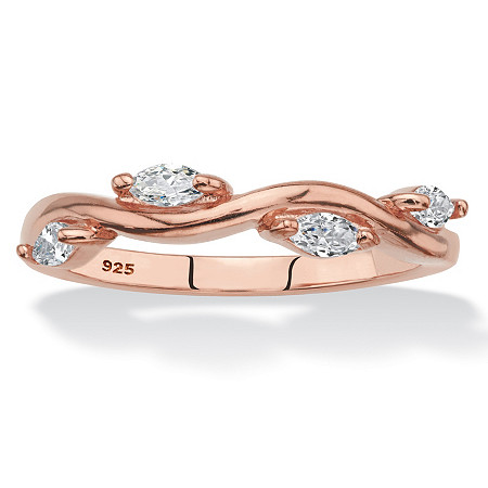 Marquise-Cut Cubic Zirconia Twisted Vine Ring in Rose Gold over Sterling Silver (.40 TCW) at PalmBeach Jewelry