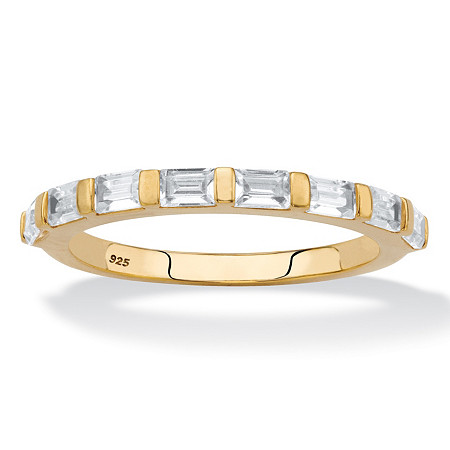 Baguette-Cut White Cubic Zirconia Stackable Ring .80 TCW in 18k Gold over Sterling Silver at PalmBeach Jewelry